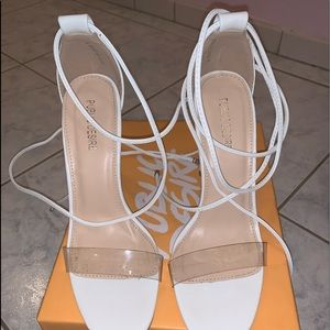 White clear strap sandals